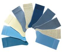 Unisex-Socken 10 Paar saugfähig & pflegeleicht hellblau / dunkelblau / blaumeliert / graumeliert