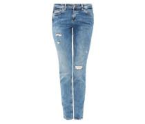 Shape Slim: Jeans mit Destroyes blue denim