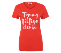 T-Shirt 'Basic' blutrot / weiß