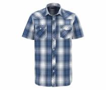 Kurzarmhemd blau / weiß