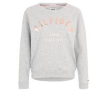 Melierter Sweater mit Print graumeliert