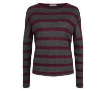 Sweatshirt im Streifenlook graumeliert / weinrot