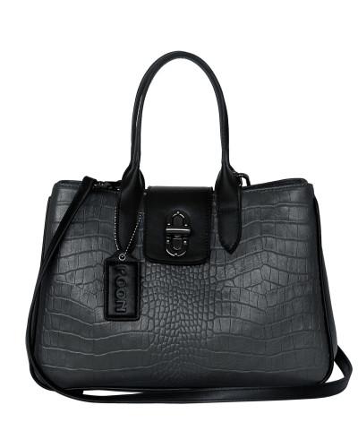 Handtasche basaltgrau / schwarz