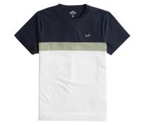 T-Shirt weiß / oliv / dunkelblau