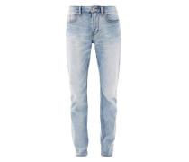 Tubx Straight: Jeans im Used-Look hellblau
