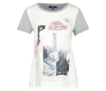 T-Shirt 'sateen mix' silbergrau / offwhite