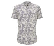 Blusen & Shirts Gemustertes Kurzarmhemd mit Mao-Kragen
