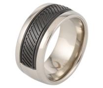 Ring mit Spiegeloptik schwarz / silber