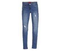 Skinny Suri: Jeans im Used-Look blau