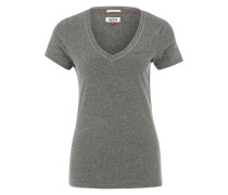 Meliertes T-Shirt grau
