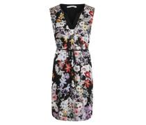 Kleid mit Split-Neck mischfarben / schwarz