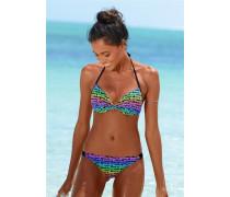 Push-up-Bikini blau / neongrün / lila
