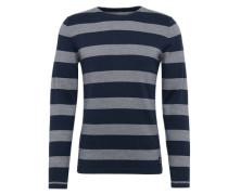 Feinstrickpullover 'different stripe crewneck knit' blau
