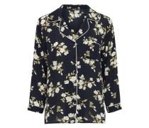 Langarmhemd Blumen- schwarz