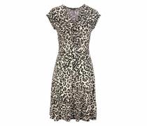 Jerseykleid beige / schwarz