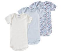 3er-Pack Bodys für Mädchen blau / hellblau / mischfarben / hellrot / naturweiß