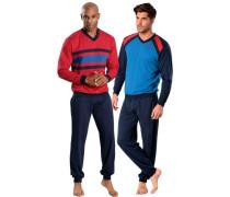 Pyjamas lang (2 Stck.) kobaltblau / himmelblau / rot