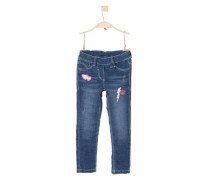 Treggings: Jeans mit Patches dunkelblau