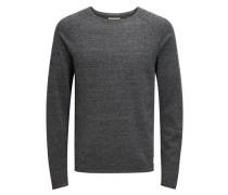 Raglan-Pullover Waffel-Webung graumeliert