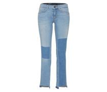 Patchwork-Jeans 'Bambi straight' hellblau