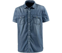 Kurzarmhemd Herren blue denim
