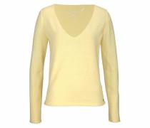 V-Ausschnitt-Pullover hellgelb