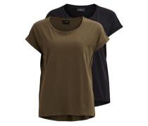 Einfaches T-Shirt - 2-pack oliv / schwarz