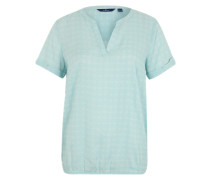 Bluse mit Tunika-Ausschnitt aqua / weiß