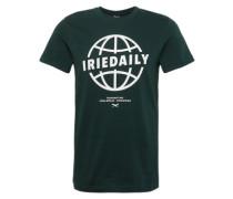 Shirt 'Globedaily' tanne / weiß