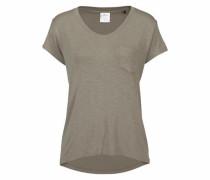 Lounge Shirt mit V-Ausschnitt und Brusttasche taupe