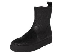 Stiefel mit Knitteroptik schwarz