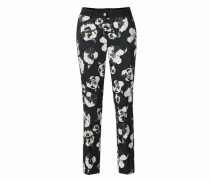 Bodyform-Druckhose mit Blumen-Dessin dunkelgrau / schwarz / weiß
