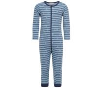 Schlafanzug Woll-/Baumwoll- blau / marine
