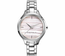 Quarzuhr '-Tp10960 Silver Tone Stone Print Es109602002' silber