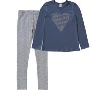 Schlafanzug für Mädchen Herz blau / marine / grau