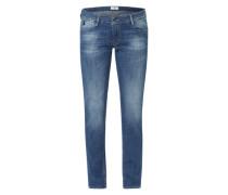 Schmale Jeans mit Wascheffekten blue denim