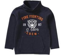Sweatshirt mit Schalkragen für Jungen dunkelblau / orange / weiß