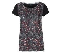 Blusenshirt mit Blumen-Print schwarz