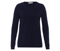 Wollpullover mit Seideneinsatz blau