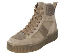 Sneaker mit Glitzersteinbesatz beige