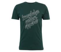 T-Shirt 'gots' dunkelgrün / weiß