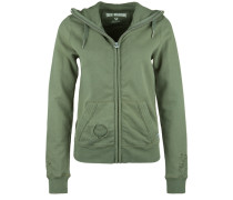 Sweatjacke 'hooded ZIP Jacket Destroy' grün