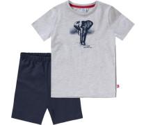 Schlafanzug für Jungen dunkelblau / grau