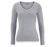 V-Ausschnitt-Pullover »Kontrast Details« grau