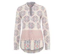 Bluse mit Allover-Print creme / rauchblau / mischfarben