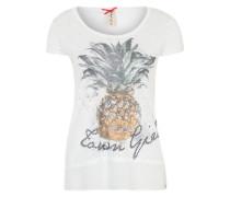T-Shirt mit Kontrasteinsatz weiß