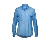 Hemdbluse aus Baumwolle und Viskose blau