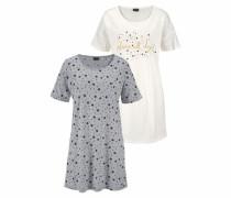 Dreams Nachthemd kurz (2 Stück) ecru / graumeliert / schwarz / weiß