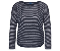 knit gestreifter Pullover navy / weiß