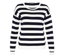 Blockstreifen-Pullover aus Feinstrick marine